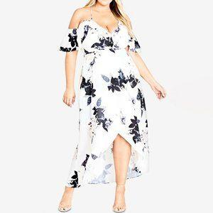City Chic Floral Print Cold Shoulder Ruffle Dress